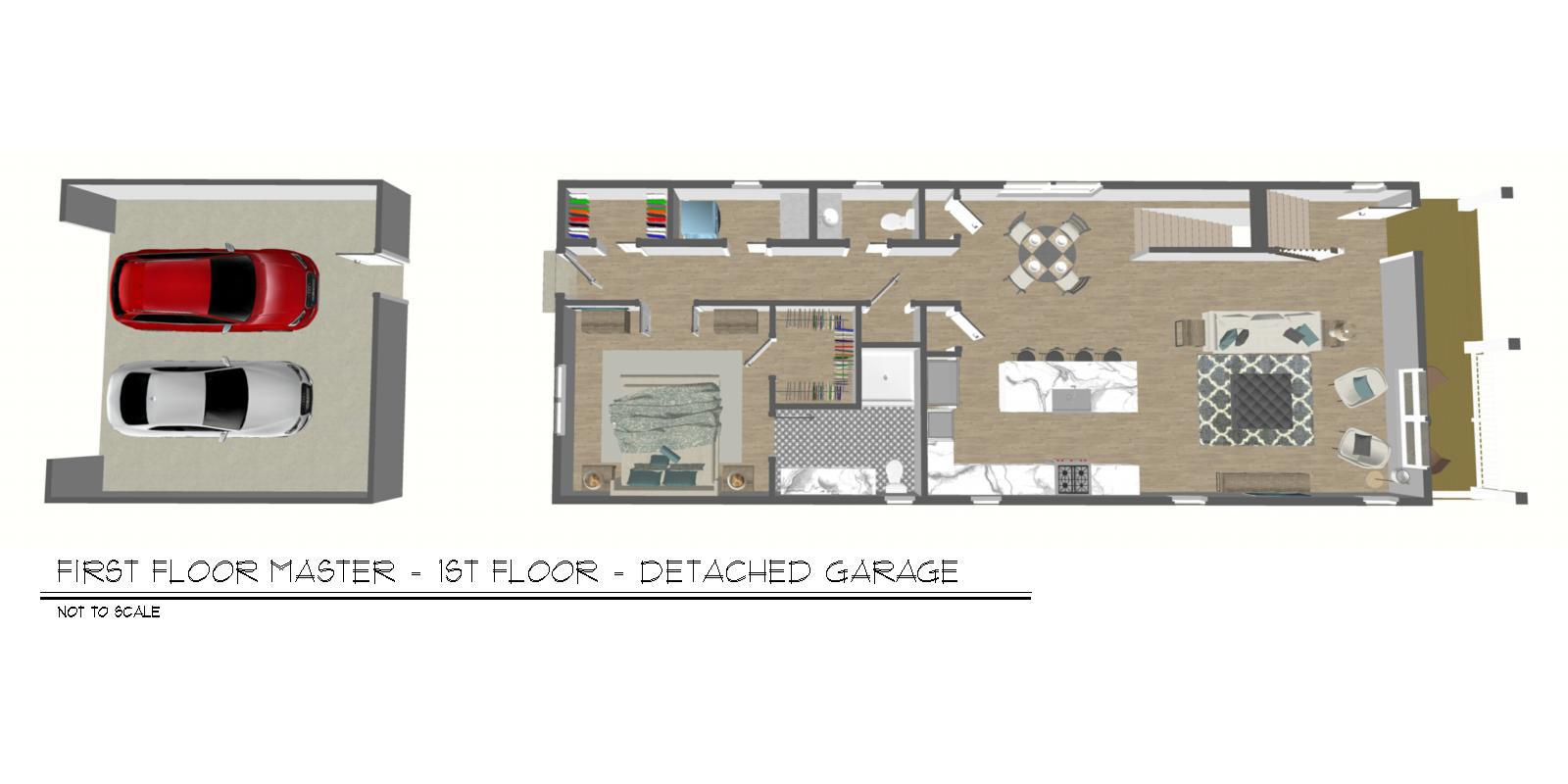 Foxtown, Mequon, New Home, First Floor Floor Plan, Detached Garage