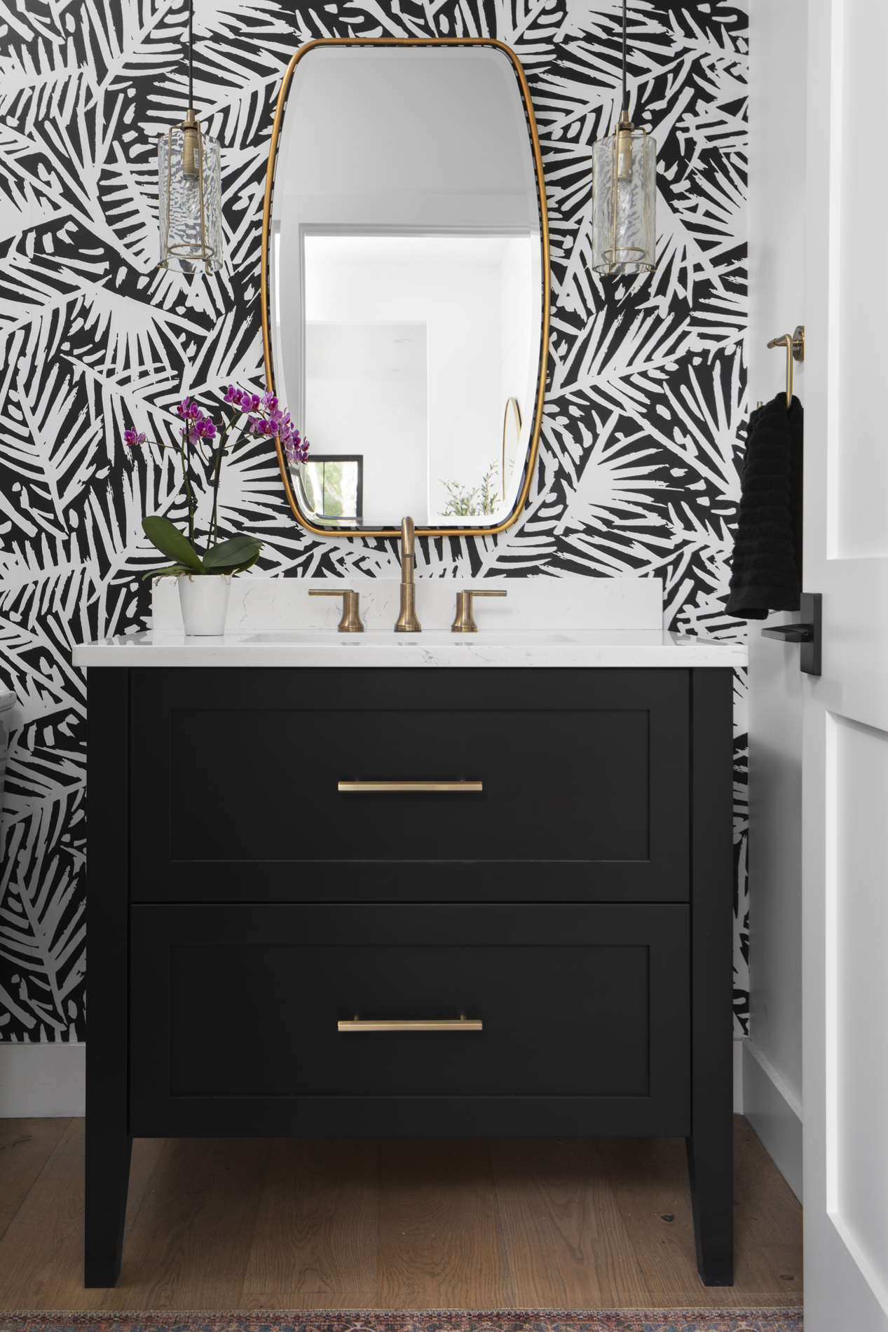 Black And White Bathroom Bold Wallpaper Brushed Gold Accent Black Cabinet Guest Bath Lakeside Development