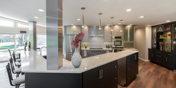 black-cabinets-stainless-steel-L-shape-island-kitchen
