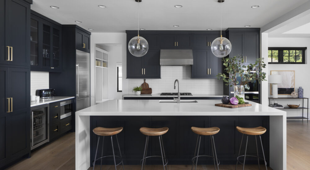 new kitchen design ideas modern clean navy cabinets brushed gold accents