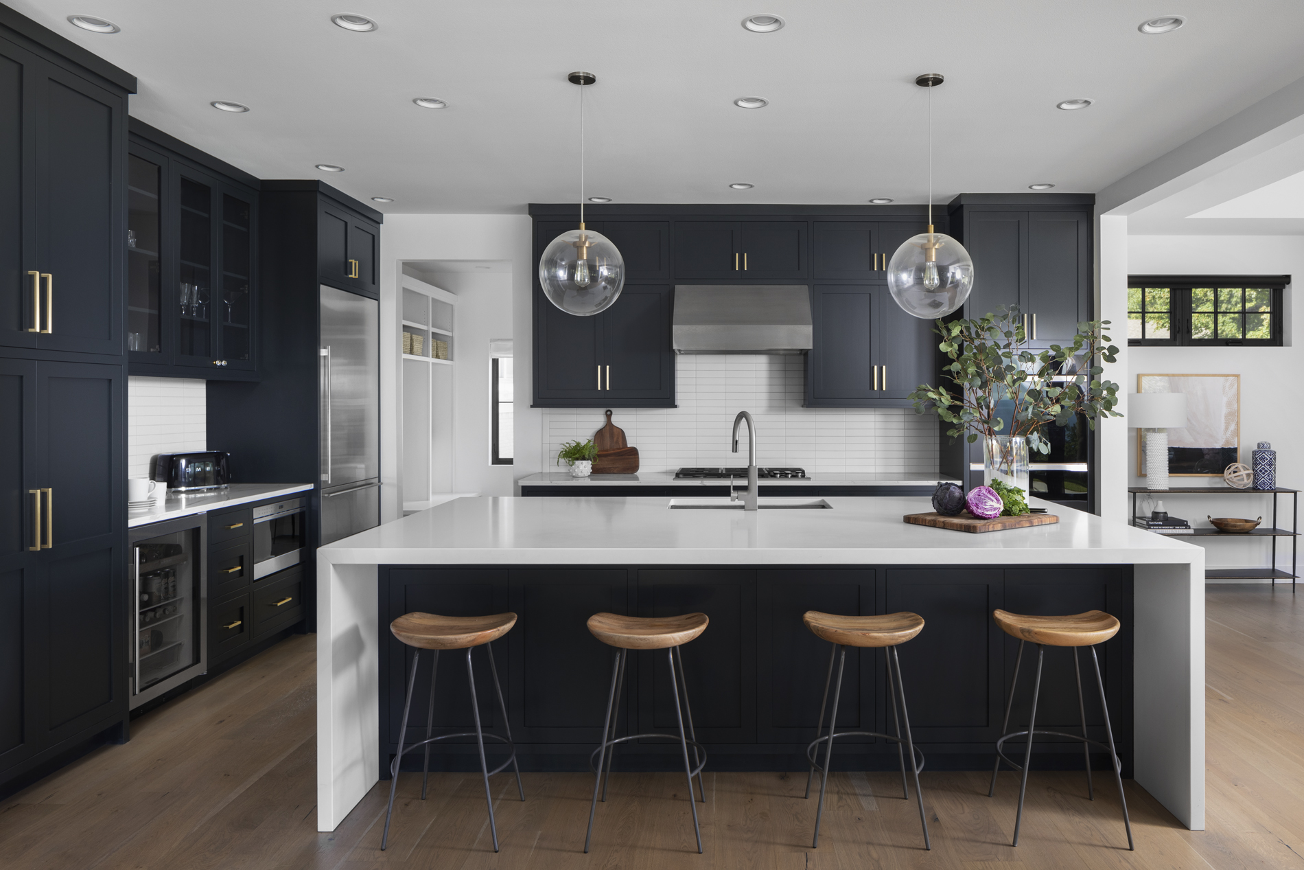 New Kitchen Design Ideas Modern Clean Navy Cabinets Brushed Gold Accents Lakeside Development