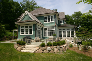 lakeside development exterior elevation green siding home