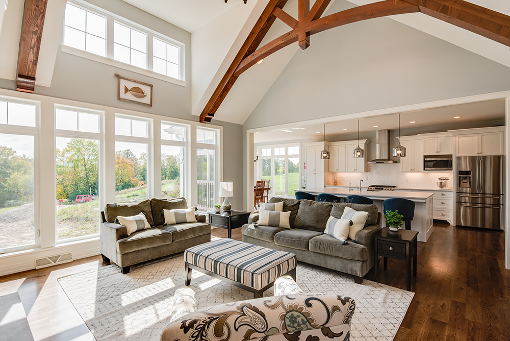 Lakeside Wood Beam Great Room Open Cathedral Ceiling Lakeside Development